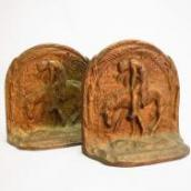Antique 【End of the Trail】 Brass Bookends  c.1940