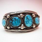 Vintage Cuff with High Grade #8 Turquoise  c.1950