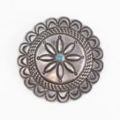 Antique Navajo Repoused Silver Concho Pin w/Turquoise c.1920
