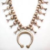 Vintage Heavy SquashBlossom DoubleHands Naja Necklace c.1960