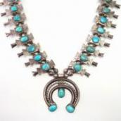 Antique Navajo Box Bow Squash Blossom Naja Necklace  c.1940~