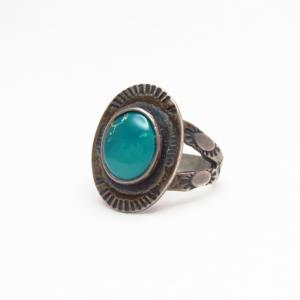Antique Stamped Small Concho Silver Ring w/TQ  c.1940