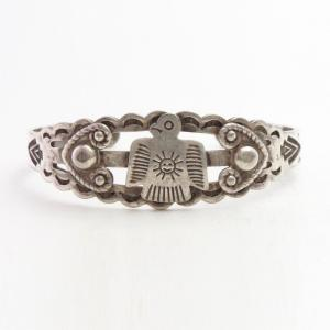 Antique Sun Stamped Thunderbird Applique Silver Cuff c.1935~
