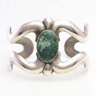 【NAVAJO GUILD】Vtg Casted Silver Wide Cuff w/Turquoise c.1950