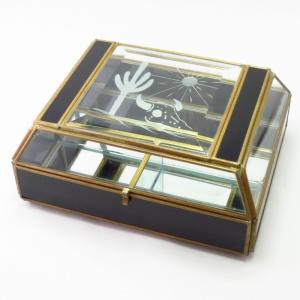 Cactus/Tatanka Skull/Sun Engraved Glass Trinket Jewelry Box
