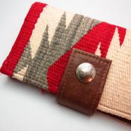 Leather Wallet w/1920's Navajo Rug-Ganado & Concho