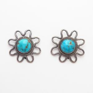 Vtg Navajo Crimped Wire Earrings w/Burnham Turquoise c.1945~