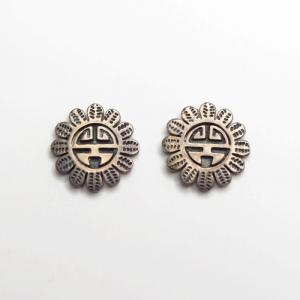 OLDPAWN Hopi  SunFace Silver Overlay Pierced Earrings c.1980