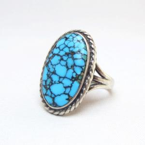 Vintage Navajo High Grade SpiderWeb Turquoise Ring  c.1950~