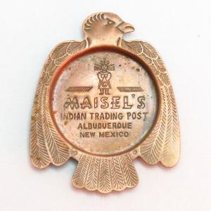 Antique 【Maisel's】 Thunderbird Shape Copper Ashtray  c.1940