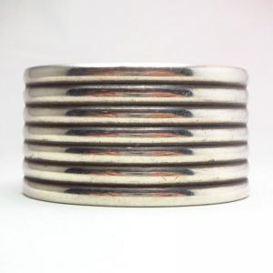 Antique Navajo Silver Ribbed Wide Cuff Bracelet  c.1940