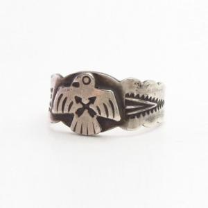 Atq CrossedArrows Stamped T-bird Applique Men's Ring c.1930~