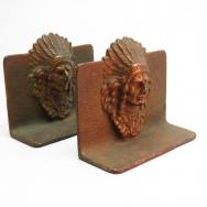 Antique Indian Chief Cast Iron Bookends 1920~