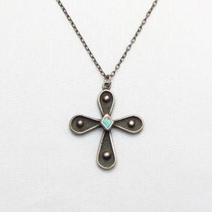 Vintage Zuni Silver Small Cross w/TQ Fob Necklace  c.1960~