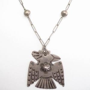 Antique Stamped Large Thunderbird Shape Fob Necklace c.1920~
