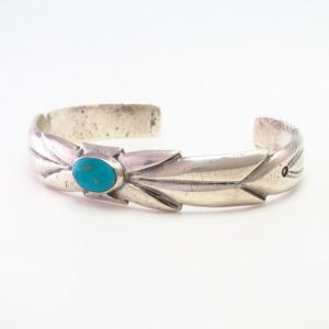 Vtg Navajo File&Stamped Cast Silver Cuff w/BlueGem TQ c.1950