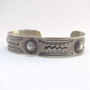Antique Concho Repoused & Snake Stamped Cuff Bracelet c.1940