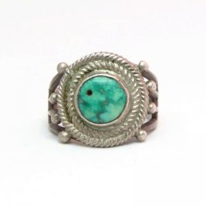 Antique Navajo Drilled Turquoise Silver Ring  c.1925~
