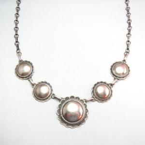 Vintage Handmade Chain Necklace w/5 Silver Concho  c.1970