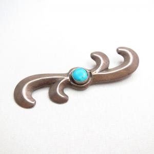 【NAVAJO GUILD】 Cast Silver Pin Brooch w/Turquoise  c.1945~