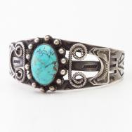 Atq Navajo 卍 T-bird Stamped Silver Cuff w/Turquoise  c.1930
