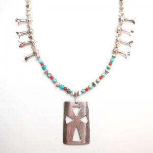 Cippy CrazyHorse Old Multi Bead Necklace w/Cut Out Cross Fob