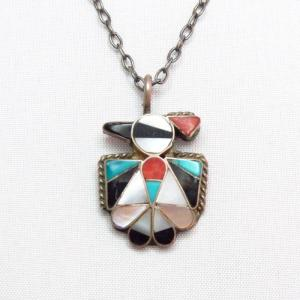 Jeanette Niiha Zuni Mosaic Inlay HopiBird Necklace