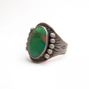 Antique Fred Harvey Style Stamped Silver Ring w/TQ  c.1930