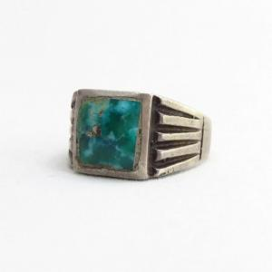 Vintage Navajo SilverRing w/Square Morenci Turquoise c.1940~