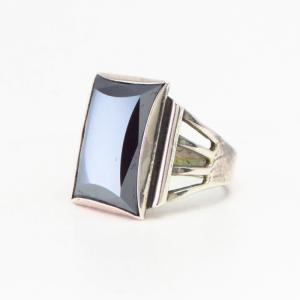 Vintage 【BELL TRADING POST】 Men's Silver Ring w/Hematite