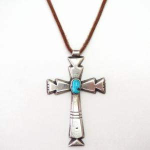 【Ambrose Lincoln】Navajo Cast Cross Fob Necklace w/TQ c.1960~