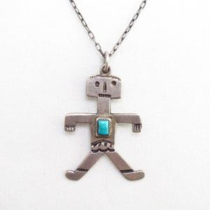 Antique Human Shaped Pendant w/Square TQ Necklace  c.1930~
