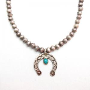 Antique Bench Made Silver Bead Necklace w/Small Naja  c.1930