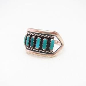 Vintage Zuni Needle Point Turquoise Row Silver Ring  c.1965~