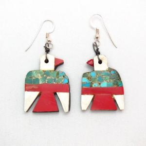 Antique Santo Domingo Thunderbird Pierced Earrings  c.1940~