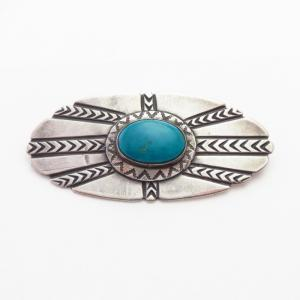 Attributed to【NAVAJO GUILD】Pin w/Blue Gem Turquoise  c.1945~
