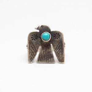 Antique Thunderbird Patched Silver Ring w/TQ  c.1930~