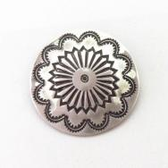 【Sam Roanhorse】 Vintage Stamped Silver Concho Pin  c.1955~