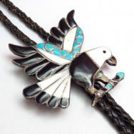 Vintage Zuni Channel Inlay Eagle Ornament Bolo Tie  c.1950~