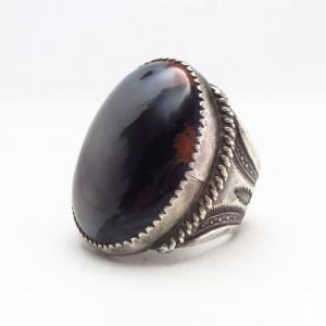 【Ralph Tawangyaouma】Hopi Atq PetrifiedWood Men's Ring c.1940