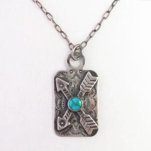 Antique Crossed Arrows Applique Tag Pendant Necklace c.1940~