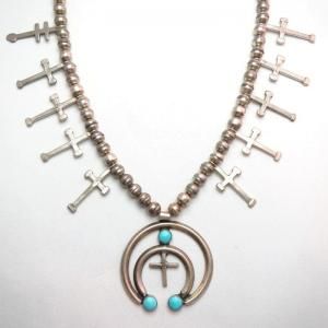 Vintage Cross Charm & Naja Necklace w/3TQ  c.1970