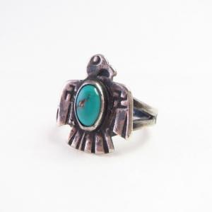 Antique 卍 Stamped Thunderbird Shape Silver Ring w/TQ c.1925~