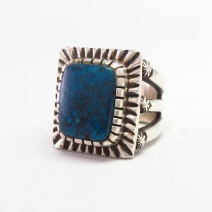 【Clendon Pete】 Navajo Top Grade Kingman Turquoise Ring  JP20