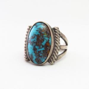Antique Navajo Men's Silver Ring w/Persian Turquoise  c.1940