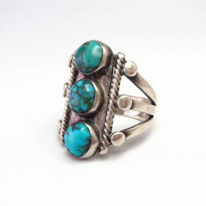 Antique Navajo Three Turquoise Row Men's Silver Ring c.1935~