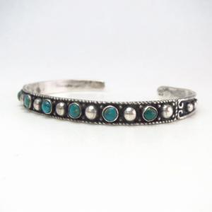 Antique Dots & Turquoise Row Narrow Cuff Bracelet  c.1930~