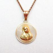 Vintage 14K Gold Our Lady of Gudalupe Medallion Fob Necklace