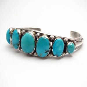【Horace Iule】Zuni Vtg Cast Silver Turquoise Row Cuff c.1950~